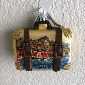 Impuls Hand Painted Glass Christmas 2020 Ornament Portugal Gold Suitcase